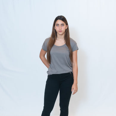 Nickel Gray Wide Neck T-shirt with Ari's Heart in Red on Left Shoulder