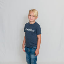 Load image into Gallery viewer, Navy Frost Youth Size T-shirt with Be the Light Design In White Across the Chest