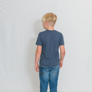 Rear View Navy Frost Youth Size T-shirt with Be the Light Design In White Across the Chest