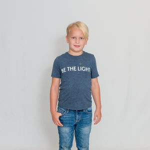 Navy Frost Youth Size T-shirt with Be the Light Design In White Across the Chest