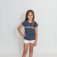 Load image into Gallery viewer, Girls Heather Navy Be the Light Short Sleeve Tshirt