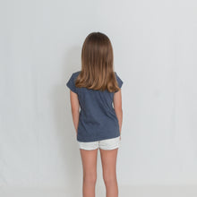Load image into Gallery viewer, Rear View Girls Heather Navy Be the Light Short Sleeve Tshirt