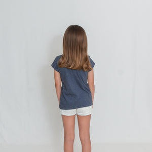 Rear View Girls Heather Navy Be the Light Short Sleeve Tshirt