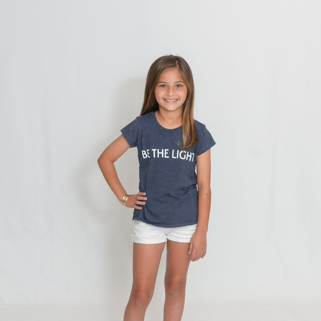 Girls Heather Navy Be the Light Short Sleeve Tshirt