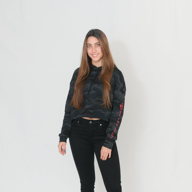Stylish black camo print cropped hoodie with Be the Light written in red on the sleeve