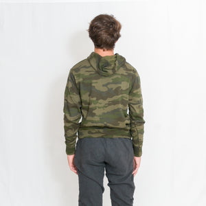 Rear View Be the Light White Text Unisex Lightweight Camo Hoodie with Kangaroo Pocket