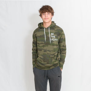 Be the Light White Text Unisex Lightweight Camo Hoodie with Kangaroo Pocket