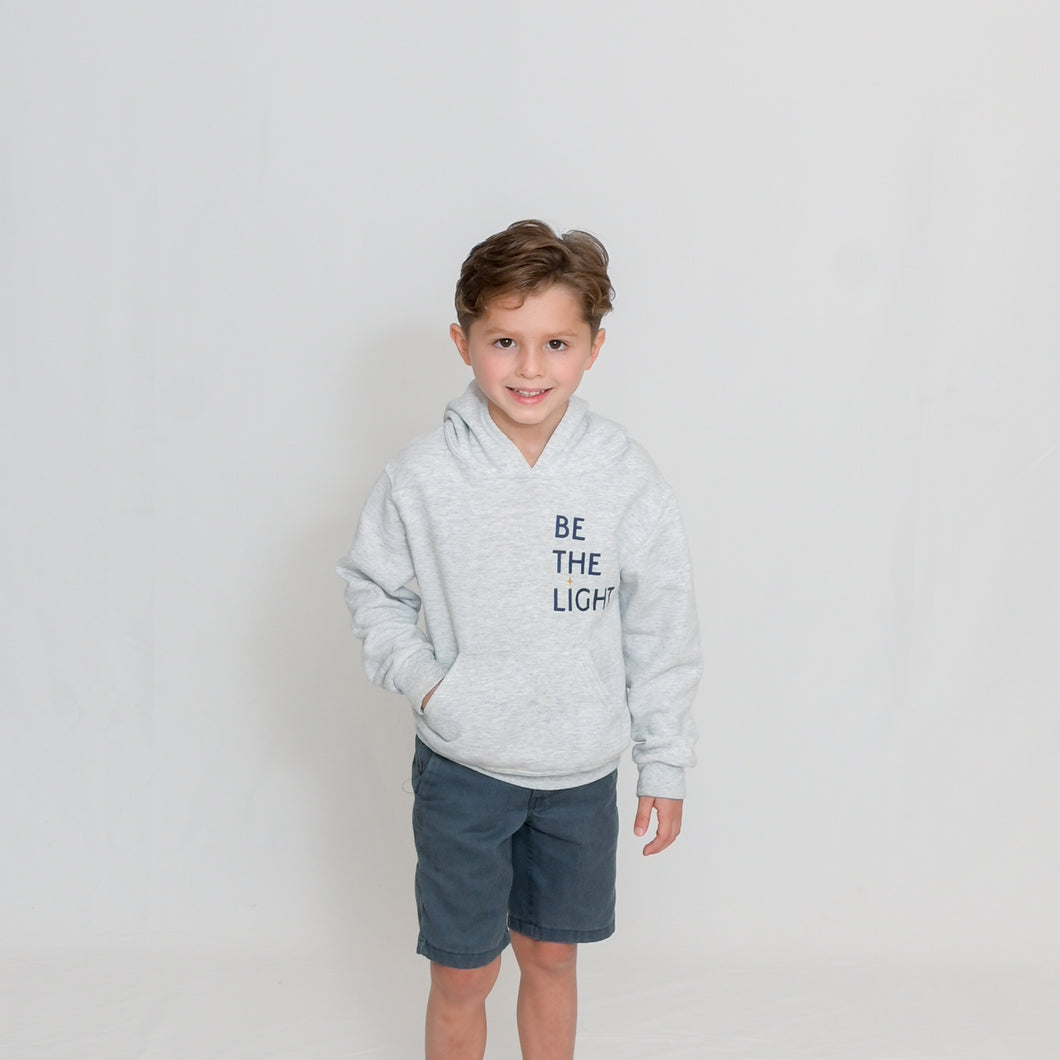 Youth Athletic Heather Hooded Sweatshirt with Be the Light Design on Chest