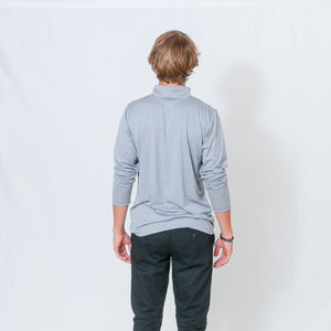 Rear View Athletic Heather Gray Long Sleeve Quarter Zip Top with Be the Light Design on Chest