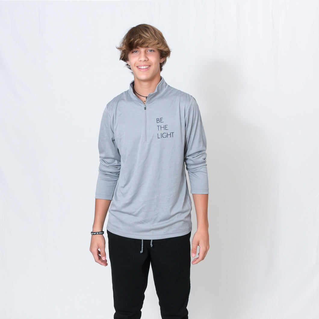 Athletic Heather Gray Long Sleeve Quarter Zip Top with Be the Light Design on Chest