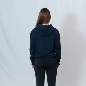 Rear View Navy Hooded Sweatshirt with Be the Light Design on Left Chest