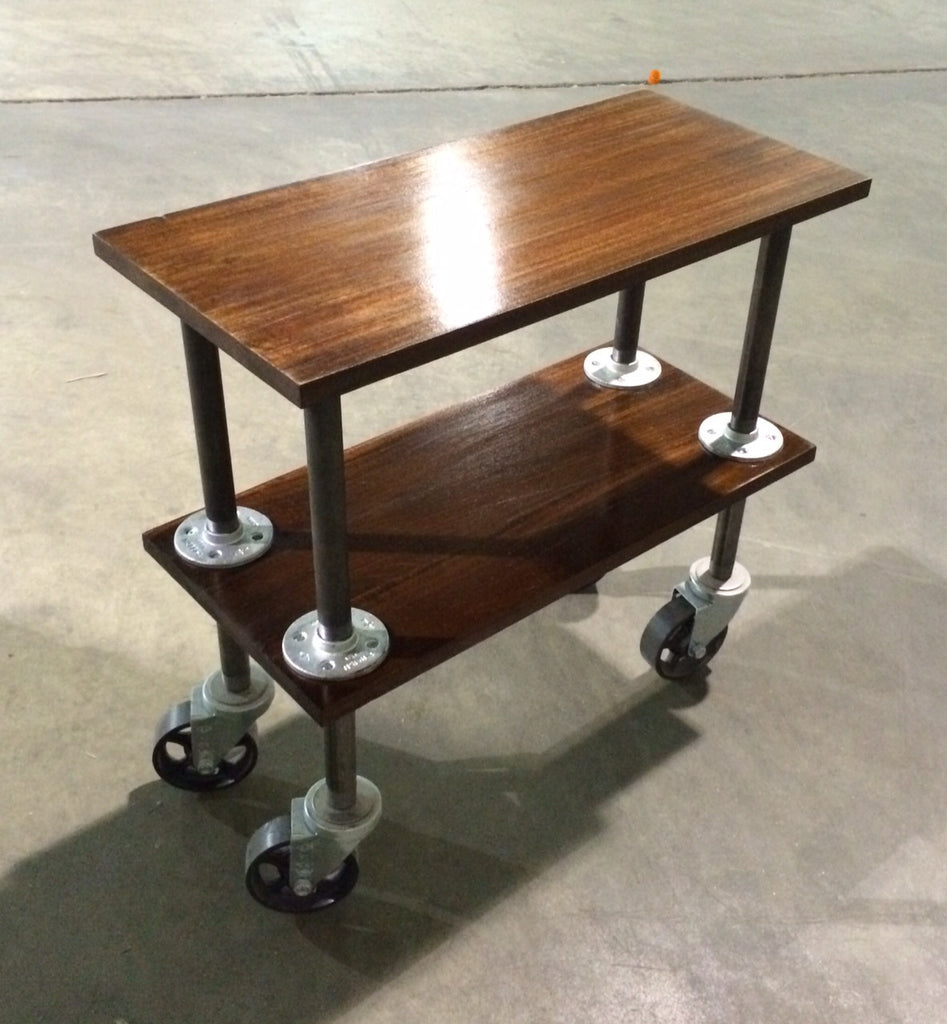 Two Tiered Vintage Industrial End Table W/ Swivel Casters