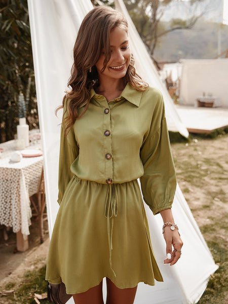 Casual Solid Buttons Tunic Shift Dress