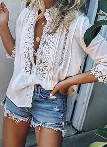 Solid 3/4 Sleeves Blouses