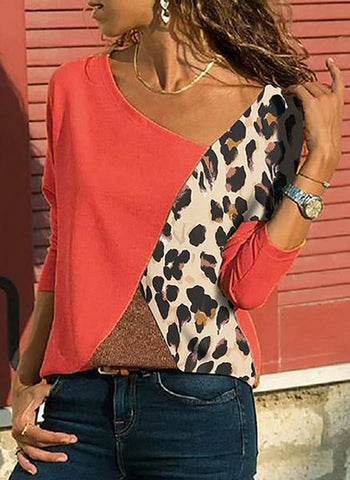 Color Block Casual V-Neckline 3/4 Sleeves Blouses