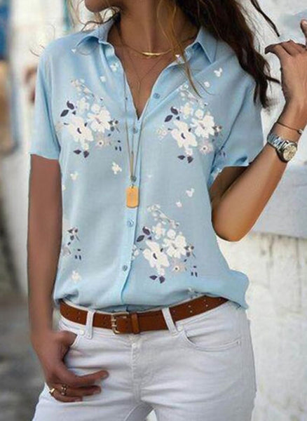 Floral Casual Collar Short Sleeve Blouses