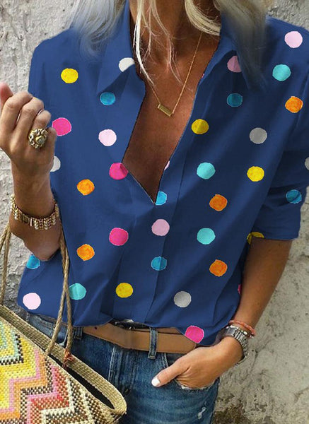Polka Dot Casual Collar Long Sleeve Blouses