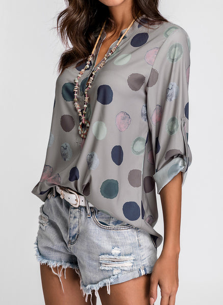 Polka Dot Casual Stand Collar Long Sleeve Blouses