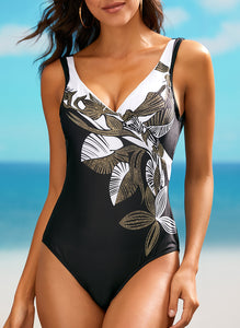 Plus Size Polyester Pattern One-piece Swimwear