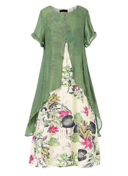Casual Floral Pockets Round Neckline A-line Dress