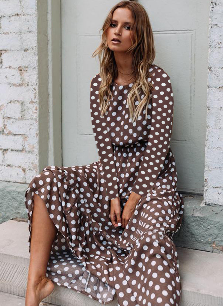 Casual Polka Dot Round Neckline Maxi X-line Dress