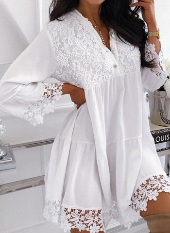 Casual Solid Lace V-Neckline A-line Dress