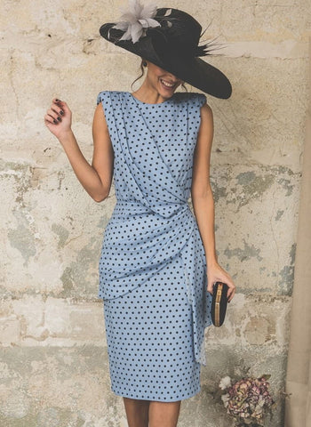Basic Polka Dot Buttons Round Neckline Sheath Dress