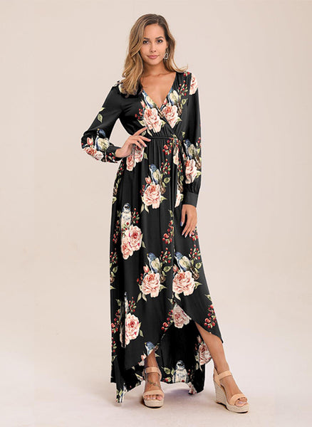 Casual Floral Lace Round Neckline X-line Dress