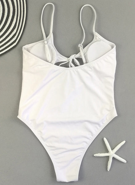 Nylon Solid Knotted One-piece Swimwear
