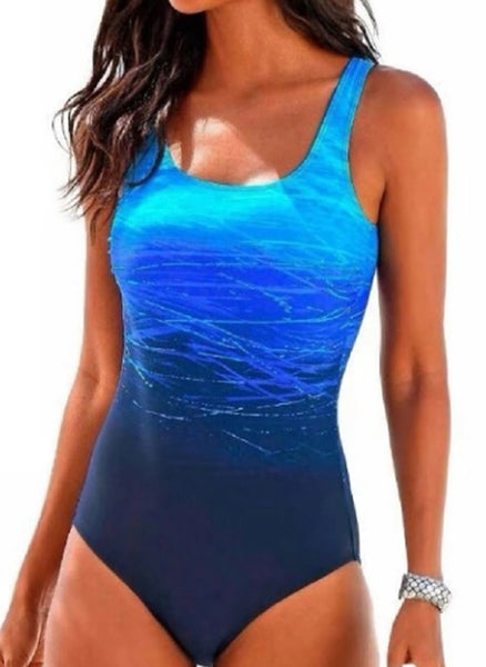 Polyester Solid Color Block One-piece Swimwear