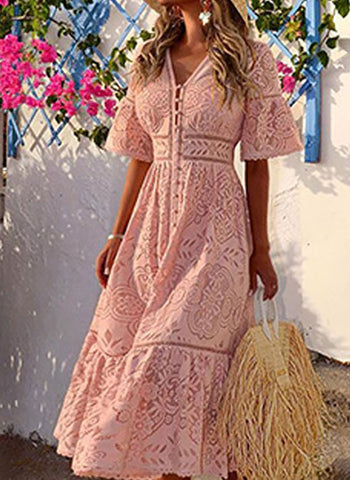 Casual Solid Lace Wrap X-line Dress
