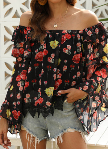 Floral Casual Off the Shoulder Long Sleeve Blouses