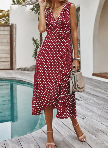 Casual Polka Dot Ruffles V-Neckline X-line Dress
