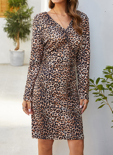 Casual Leopard Pencil V-Neckline Sheath Dress