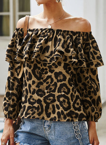 Leopard Casual Off the Shoulder Long Sleeve Blouses
