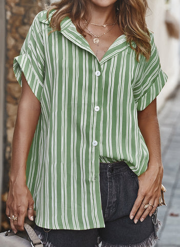 Stripe Casual Collar Short Sleeve Blouses