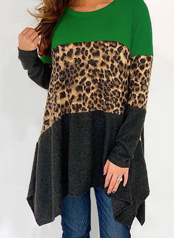 Leopard Casual Round Neckline Long Sleeve Blouses
