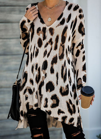 Leopard Casual V-Neckline Long Sleeve Blouses