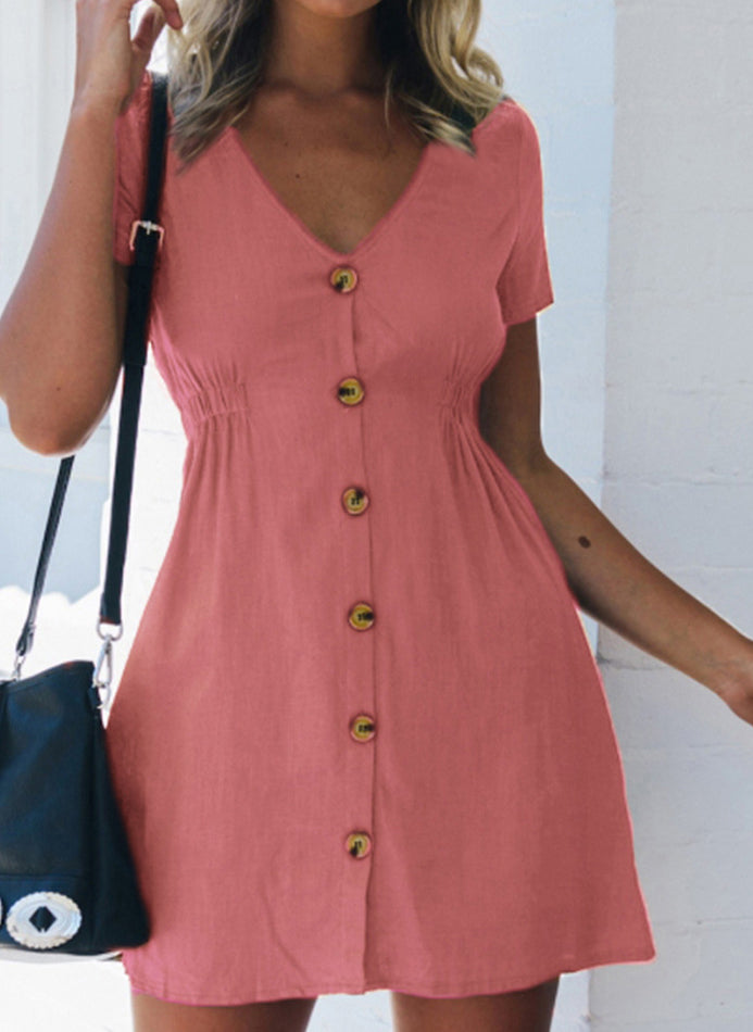 Casual Solid Buttons Skater X-line Dress