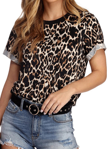 Leopard Casual Round Neckline Short Sleeve Blouses