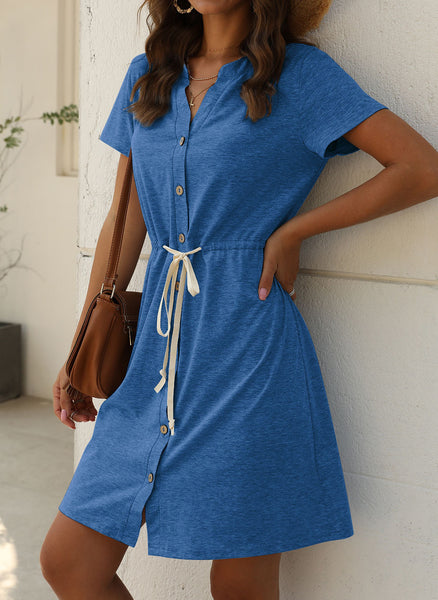 Casual Solid Sashes V-Neckline X-line Dress