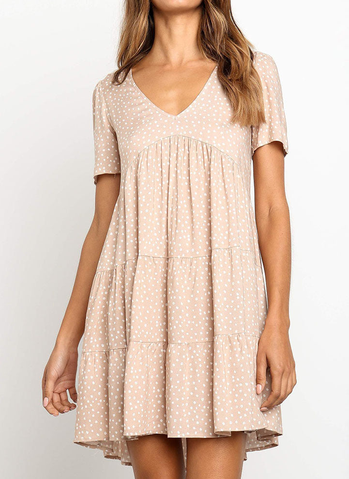Casual Polka Dot V-Neckline Above Knee A-line Dress