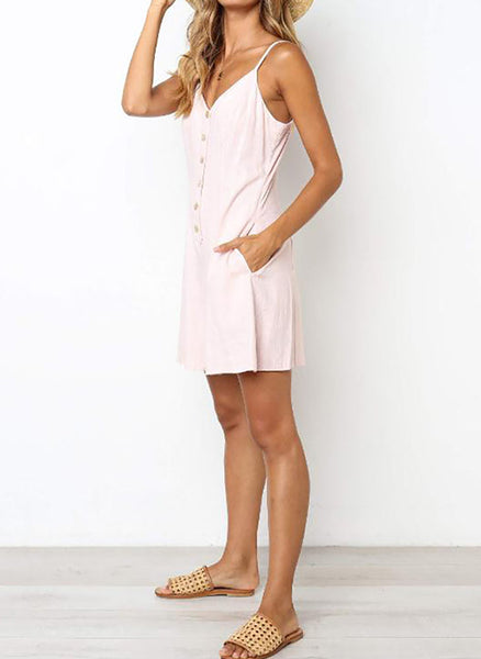 Casual Solid Buttons Slip Shift Dress