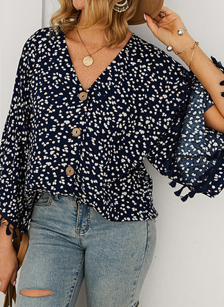 Floral Casual V-Neckline 3/4 Sleeves Blouses