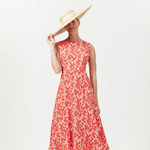 Summer dress red midi flowy by Lalage Beaumont