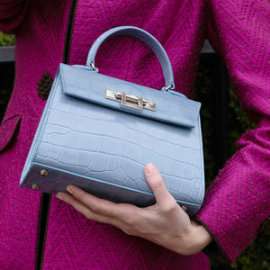 Midi sized leather handbag in bluebell