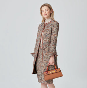 Long english brown tweed jacket with matching skirt