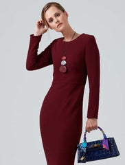 Wool crepe red dress for work