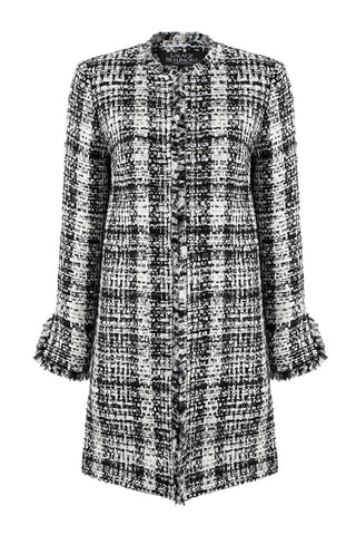 Navy/Ivory Tweed Check jacket - Gina