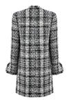 Black/White/Sky Check Tweed Long Jacket - Iona